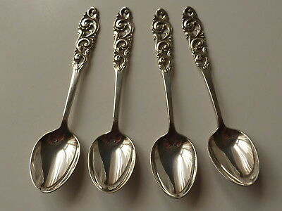 4 Norwegian Sterling Silver Coffee Spoons