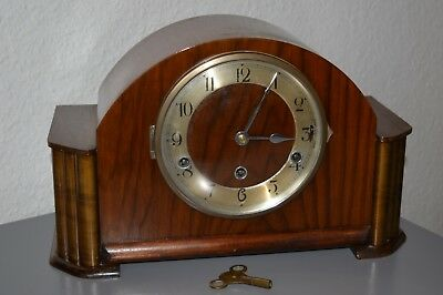 Art Deco Westminster chimes mantle clock. English made. Working order.