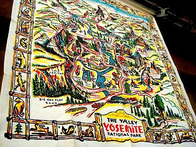 Vintage 30's 40's The Valley YOSEMITE National Park souvenir Tablecloth.