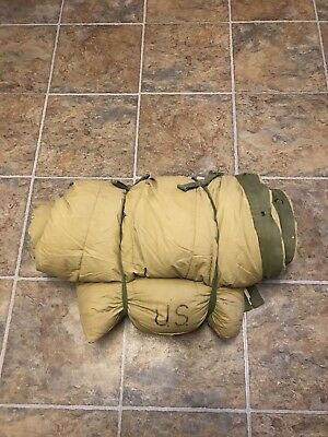 WWII Korea Vtg M-1949 US ARMY Mountain DOWN Sleeping Bag 1950 w/ M-1945 Case
