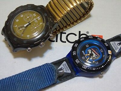 Lot Of 2 Swatch Watches  Rare L@@k  Excellent  Wow Vintage