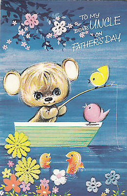 happy fathers day uncle vintage 1970s greeting card cute bear fishing