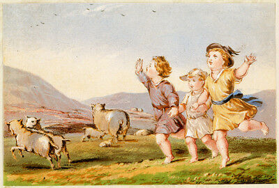 Happy Children Run Sheep Mountain Meadow Antique Victorian Scrap Book Art Print