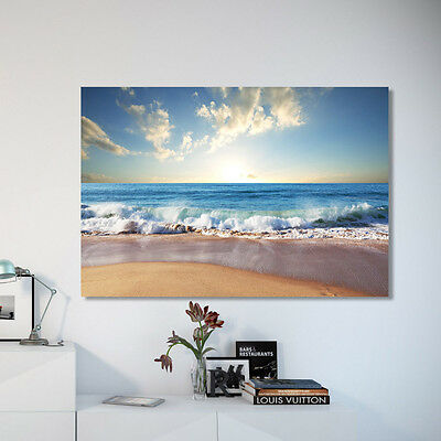 Stretched Canvas prints seascape print Sun Beach wave ocean view time-lapse
