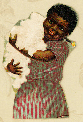 Black Americana Girl Carries Lots of Cotton Antique Victorian Trade Card Cutout