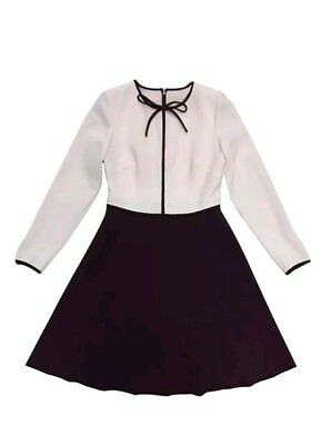 c408e1735ea6 TED BAKER LOOZY dress ivory with black trim bow neck fit and flare ...
