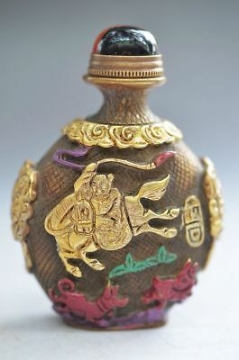 Delicate Chinese Brass Carving Horse People Snuff Bottle