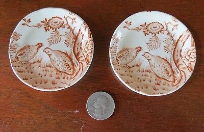 2 Vintage Furnivals England Brown Quail Transferware Butter Pats