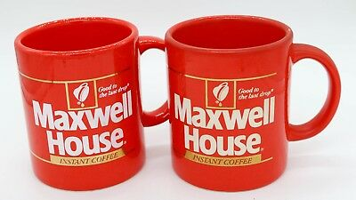 2 Vintage 1980's Instant Maxwell House Coffee Cups / Mugs Red -Japan