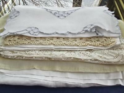 6pcs Lot Antique Shabby Chic Linen Runners Use As Is or Cutup Crafting Laundered