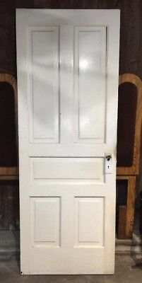 "Vintage Solid Wood Door 5 Panel Architectural Salvage 29 3/4"" X 80"" X 1 1/4"""