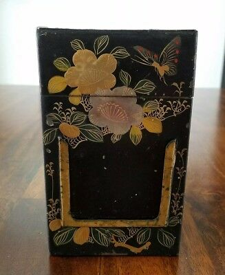 Antique Tin Toleware Handpainted Butterfly Flowers Spice-Tea Caddy-Label Insert