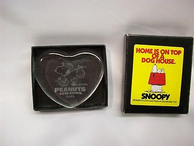 "Snoopy Peanuts heart shaped glass paper weight, ""45th Anniversary"", NEW w/box"