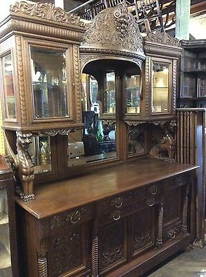 Oak R J Horner Sideboard With Griffin Supports And Curio Cabinet Top