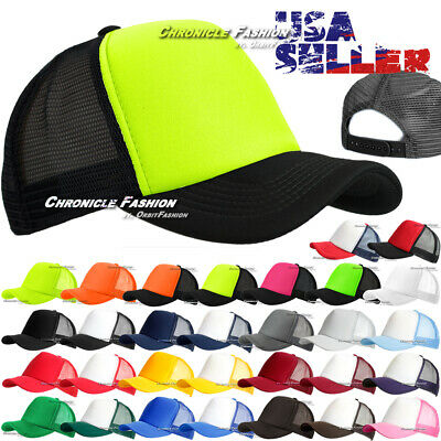 Trucker Mesh Hat Baseball Cap Snapback Curved Adjustable Plain Solid Caps Men