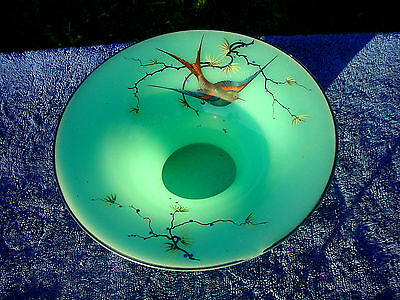 Rare Quality Great Looking Hand Painted Bird On Tuquoise Green Fluted Dish Bowl!