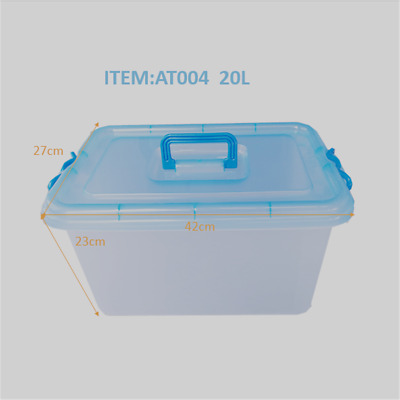 3/6 x 20L Large Plastic Storage Boxes Clip On Lid With Handle AT004