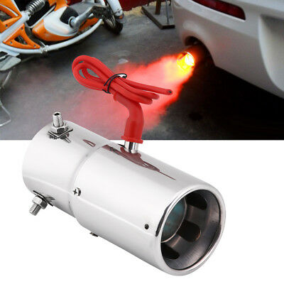 Universal Car Steel Tail Exhaust Pipe Red LED Light Spitfire Flaming Muffler Tip