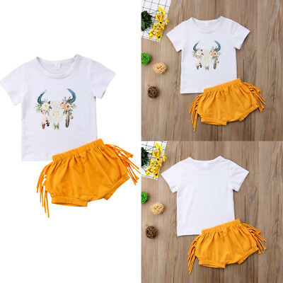 Toddler Kid Baby Girl Summer Outfits Cotton T-shirt Tops+Short Pants Clothes Set