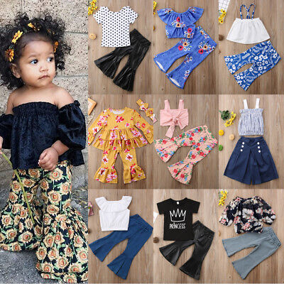 Flared Pants Outfits Kid Baby Girl Top Vest Mini Dress+Loose Leggings Clothes US