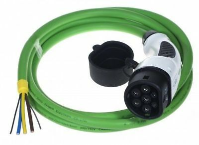 Type 2 MENNEKES EV Tethered Charging Cable 32Amps 3-PHASE STRAIGHT GREEN