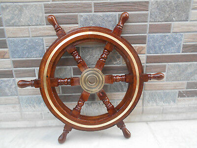 "Brass Fishing Wall Boat 18""Nautical Wooden Ship Steering Wheel Pirate Decor Wood"