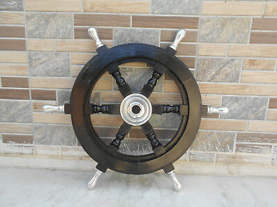 "18"" Nautical Wall Boat Wooden Ship Steering Wheel Pirate Decor Wood Replica"
