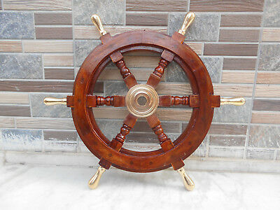 "Nautical Wall Boat Wooden Ship Steering18"" Wheel Pirate Decor Wood Replica Gift"