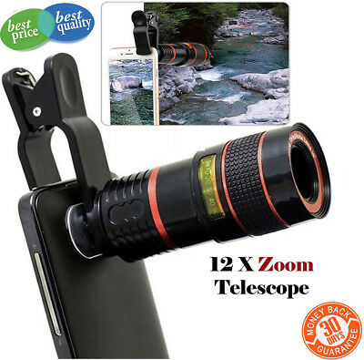 Universal HD 12x Optical Telescope Camera Lens Zoom Clip-on For Mobile Phone UK