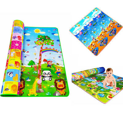 Kids Baby Crawling Educational Game Play Mat Soft Foam Picnic 2 Side Carpet Gift