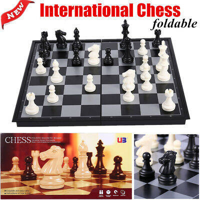 Mini-Set International Chess Black & White with Folding Chess Board 4812-B PM