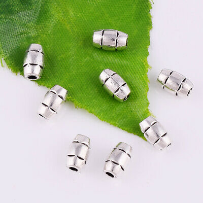 Tibetan Silver Hollow Spacer Beads Oval Metal Jewelry Making Findings 20x10mm