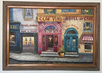 French Impressionist Paris Street City Scene Canvas Oil Painting Framed Signed