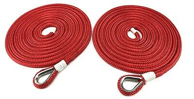 8mm Red Double Braid Polyester Mooring Ropes, 2 x 6 Metres, Stainless Steel Eye