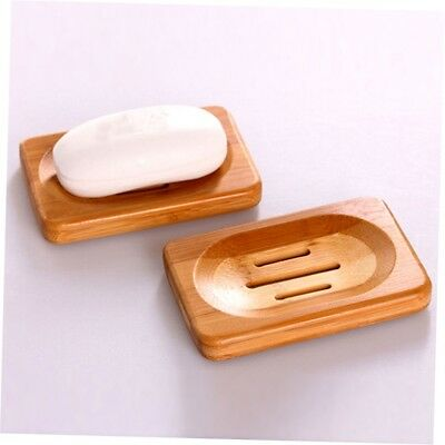 Natural Bamboo Wood Soap Dish Storage Holder Bath Shower Plate Bathroom G#N@