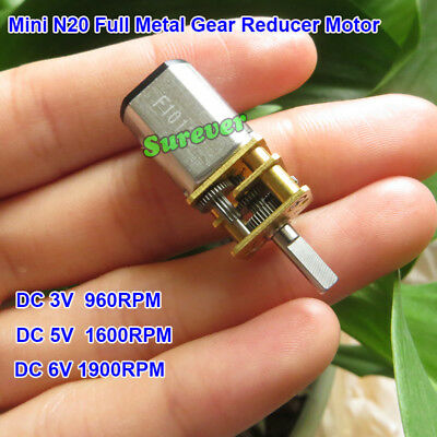 Mini N20 Full Metal Gear Gearbox Reducer Motor DC 3V 5V 6V 960RPM-1900RPM 1:10