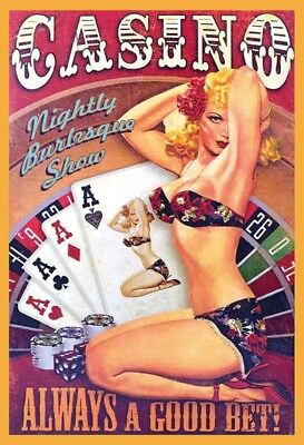 Casino Pin Up Girl Tin Sign Metal Shield Shield Arched Tin Sign 20 x 30 cm