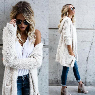 Women Lambswool Hoodie Knit Long Sleeve Cardigan Sweaters Outerwear With Pocket