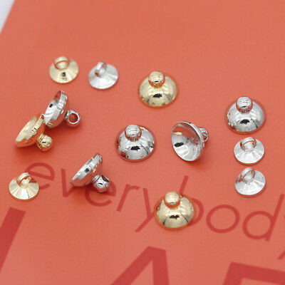 20p Silver Gold plated Metal Connector Pearl pendant Bail caps fit 6mm 8mm Beads