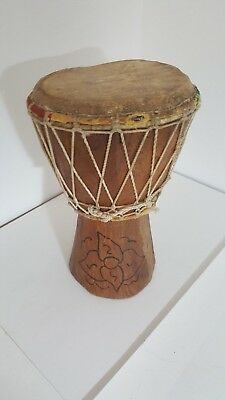 VINTAGE SOLID WOODEN HAND MADE BONGO DRUM 9 INCHES SIGNED HEAVY 1200gm