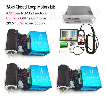 3Axis Nema23 3NM Closed Loop Stepper Motor Kit+CNC Controller+DC Power+Handwheel