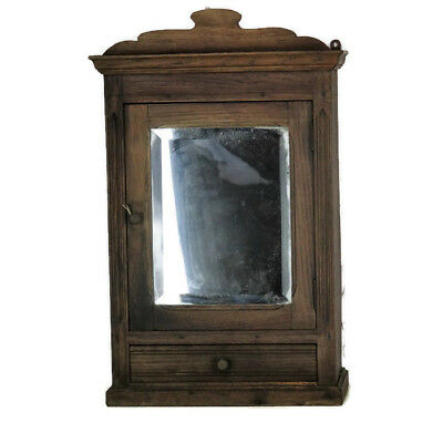 Vintage hand Carved Oak Medicine Kitchen Wall Cabinet Apothecary Beveled Glass