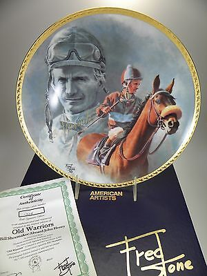 "Fred Stone Old Warriors Horse Collector Plate (#1305) 10""(Signed Bill Shoemaker)"