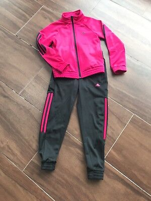 Girls adidas track suit age 7-8 yrs black and deep pink