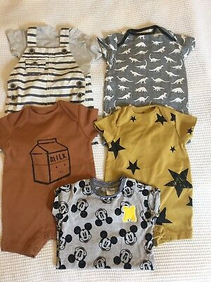 Next Baby Boys 0-3 Months Summer Bundle, Rompers, Dungaree Shorts, Playsuits