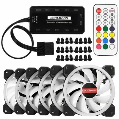 6-Pack RGB LED Quiet Computer Case PC Cooling Fan 120mm with Remote Control GU