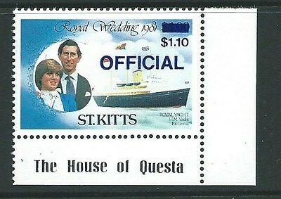 ST.KITTS SGO27f 1983 ROYAL WEDDING OFFICAL DEEP ULTRAMARINE SURCHARGE  MNH