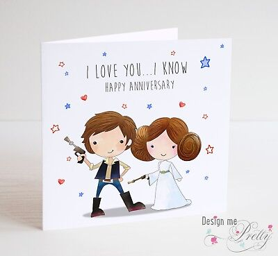 STAR WARS Anniversary Card - With Han Solo And Princess Leia