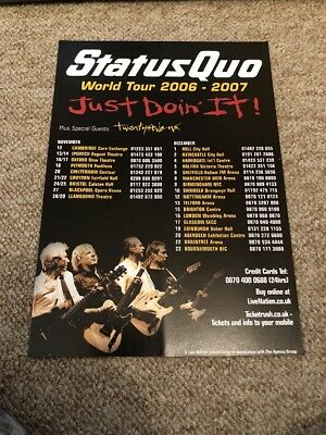 Status Quo World Tour Just Doin It Concert Flyer Size A5 1 99