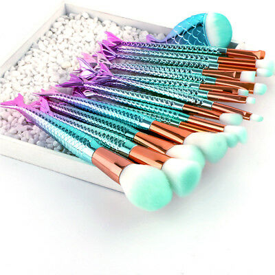 16 PCS mermaid makeup brush gradient blue fish makeup brush beauty tools
